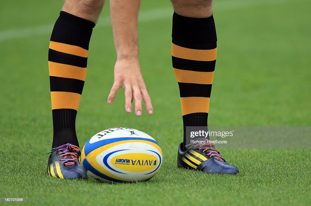 Joe Launchbury of Wasps wears the rainbow laces of The Stonewall initiative, a campaign against homophobic discrimination in sport during the Aviva Premiership match between London Wasps and Worcester Warriors at Adams Park on September 28, 2013 in High Wycombe, England.