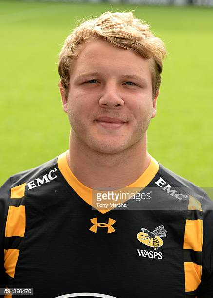 Joe Launchbury poses for a portrait during the Wasps squad photocall for the 20162017 Aviva Premiership Rugby season on August 17 2016 in Coventry...