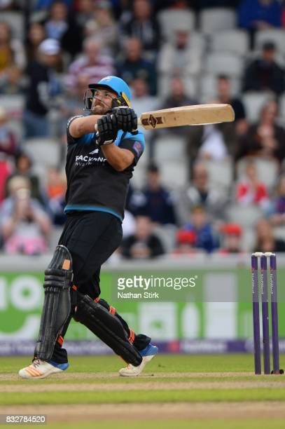 Joe Leach of Worcestershire Rapids in action during the NatWest T20 Blast match between Lancashire Lightning and Worcestershire Rapids at Old...