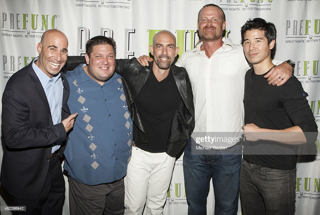 Joe Lear, Sumo Dan Kalbfleisch, actor Gonzalo Menendez, Doug Hall, and Jon Lee Brody attend PREFUNC At The Celebrity Sweat VIP Party at The Palm on July 16, 2014 in Los Angeles, California.