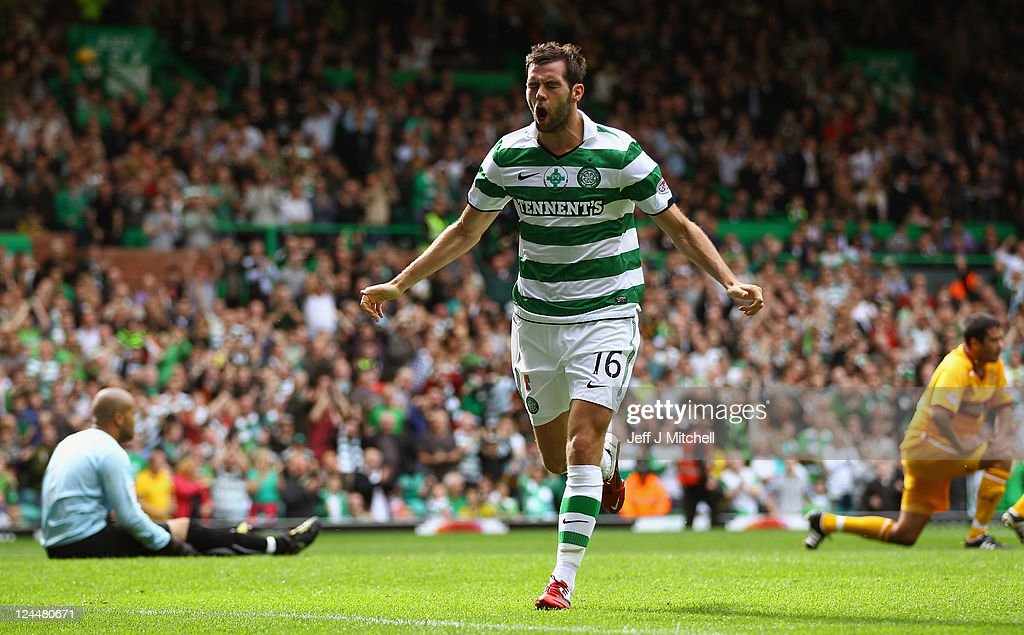 <a gi-track='captionPersonalityLinkClicked' href=/galleries/search?phrase=Joe+Ledley&family=editorial&specificpeople=687410 ng-click='$event.stopPropagation()'>Joe Ledley</a> of Celtic celebrates scoring his team's second during the Clydesdale Bank Premier League match between Celtic and Motherwell at Celtic Park on September 10, 2011 in Glasgow, Scotland.