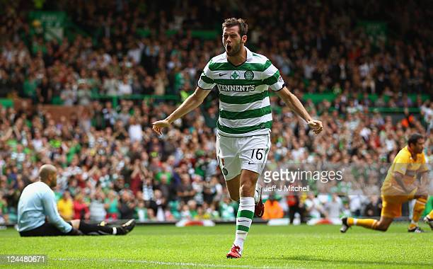 Joe Ledley of Celtic celebrates scoring his team's second during the Clydesdale Bank Premier League match between Celtic and Motherwell at Celtic...