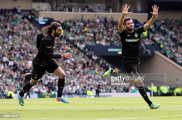 Joe Ledley of Celtic celebrates with teammate Georgios Samaras after scoring their team's third goal during the William Hill Scottish Cup Final match...