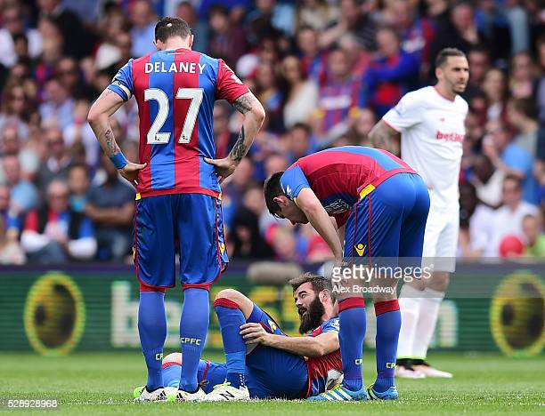 Joe Ledley of Crystal Palace lays injured during the Barclays Premier League match between Crystal Palace and Stoke City at Selhurst Park on May 7...