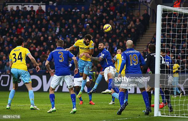 Joe Ledley of Crystal Palace scores from a header during the Barclays Premier League match between Leicester City and Crystal Palace at the King...