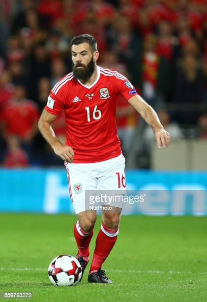 Joe Ledley of Wales during FIFA World Cup group qualifier match between Wales and Republic of Ireland at the Cardiff City Stadium Cardiff Wales on 9...