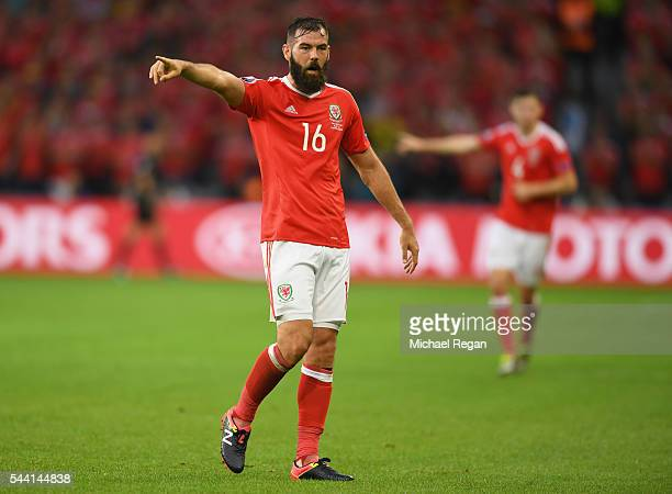 Joe Ledley of Wales gestures during the UEFA EURO 2016 quarter final match between Wales and Belgium at Stade PierreMauroy on July 1 2016 in Lille...