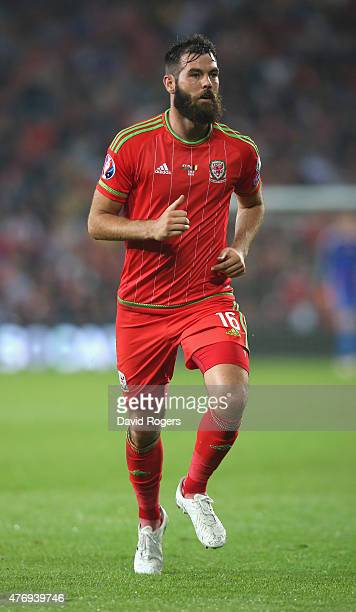 Joe Ledley of Wales looks on during the UEFA EURO 2016 qualifying match between Wales and Belgium at the Cardiff City Stadium on June 12 2015 in...