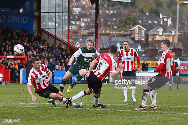 Joe Lennox of Plymouth Argyle scores his sides equalising goal during the npower League Two match between Exeter City and Plymouth Argyle at StJames'...