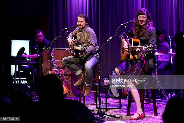 Joe Lester Brian Aubert Nikki Menninger and Christopher Guano of the Silversun Pickups perform at Homegrown Silversun Pickups at The GRAMMY Museum on...