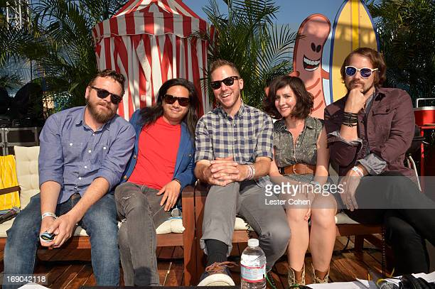 Joe Lester Christopher Guanlao Nikki Monninger and Brian Aubert of Silversun Pickups and DJ Stryker backstage at KROQ Weenie Roast Y Fiesta at...