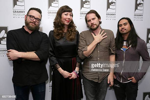 Joe Lester Nikki Menninger Brian Aubert and Christopher Guano of the Silversun Pickups attend Homegrown Silversun Pickups at The GRAMMY Museum on...
