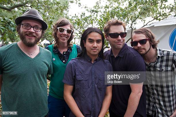 Joe Lester Nikki Monninger Christopher Guanlao Fuse of Silversun Pickups host Steven Smith and Brian Aubert of Silversun Pickups pose at the 2009...