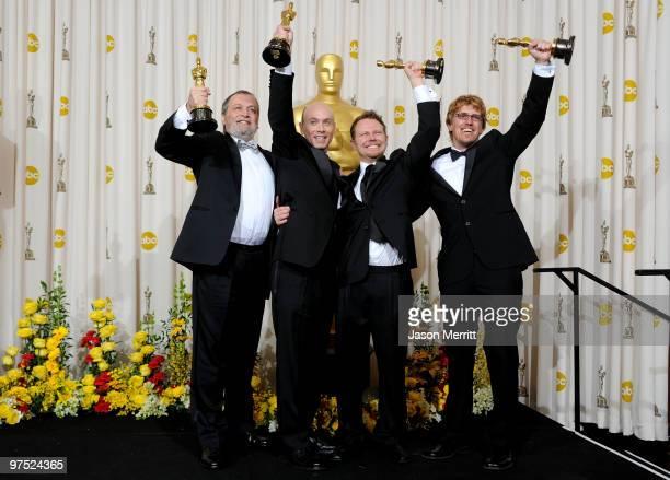 Joe Letteri Stephen Rosenbaum Richard Baneham and Andrew Jones winners of Best Visual Effects for 'Avatar' pose in the press room at the 82nd Annual...