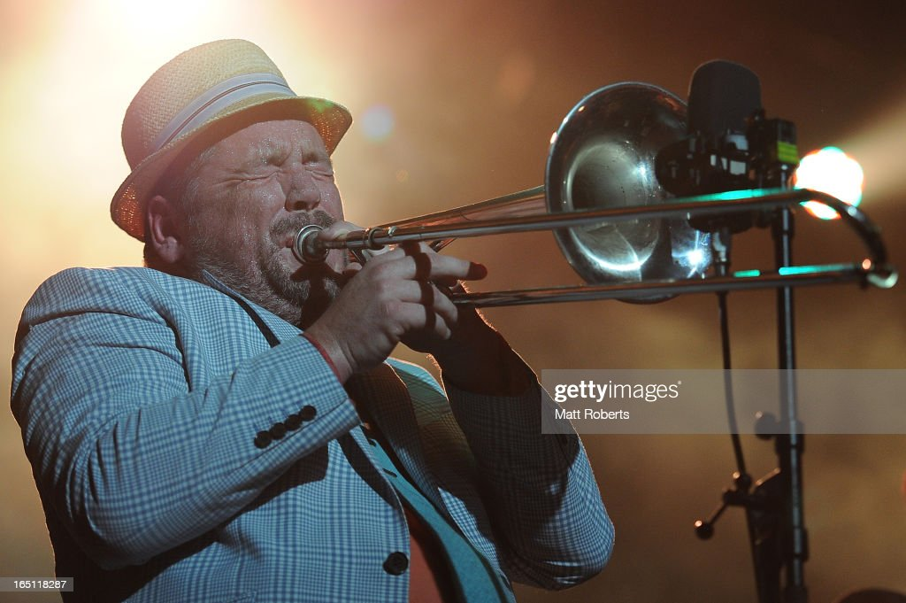Joe Lindsay of Fat Freddy's Drop performs on stage at Bluesfest 2013 - Day 4 on March 31, 2013 in Byron Bay, Australia.