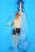 Joe Litchfield of Great Britain competes in the Men's 100m Backstroke heats during day eleven of the Baku 2015 European Games at the Baku Aquatics...