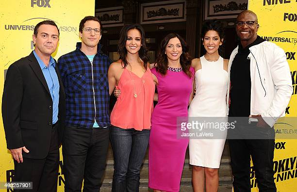 Joe Lo Truglio Andy Samberg Melissa Fumero Chelsea Peretti Stephanie Beatriz and Terry Crews attend the 'Brooklyn NineNine' steakout block party and...