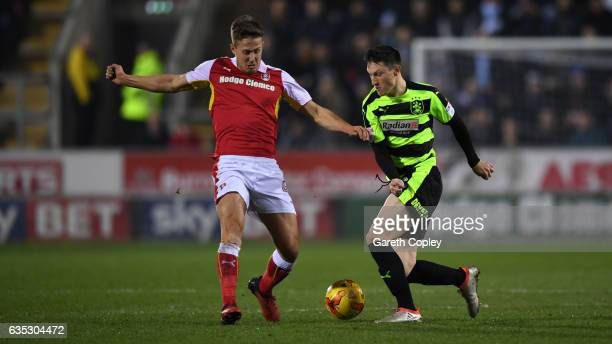 Joe Lolley of Huddersfield gets past Will Vaulks of Rotherham during the Sky Bet Championship match between Rotherham United and Huddersfield Town at...