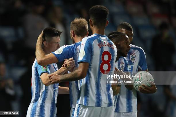 Joe Lolley of Huddersfield Town celebrates after scoring a goal to make it 21 during the Carabao Cup Second Round match between Huddersfield Town and...