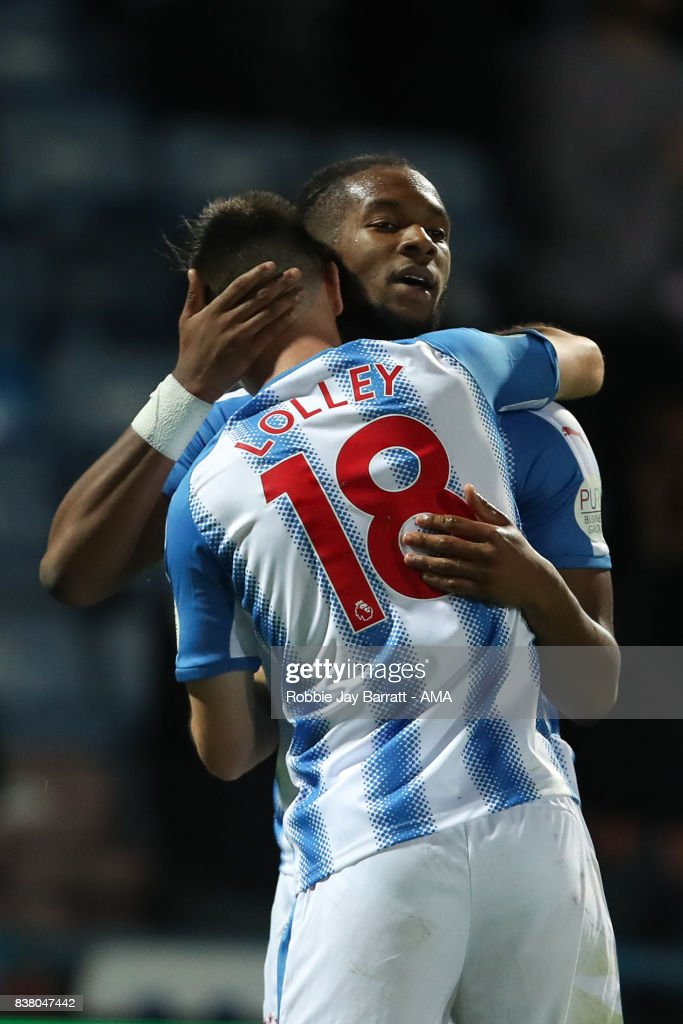 Joe Lolley of Huddersfield Town celebrates with Kasey Palmer of Huddersfield Town after scoring a goal to make it 2-1 during the Carabao Cup Second Round match between Huddersfield Town and Rotherham United at The John Smiths Stadium on August 23, 2017 in Huddersfield, England.
