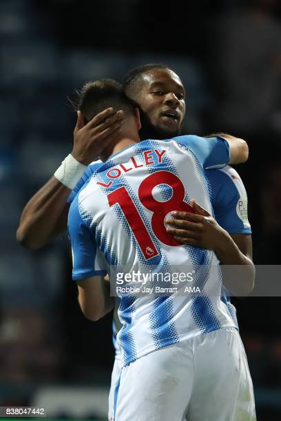 Joe Lolley of Huddersfield Town celebrates with Kasey Palmer of Huddersfield Town after scoring a goal to make it 21 during the Carabao Cup Second...