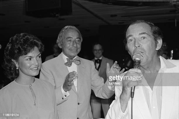 Joe Loss and Christiaan Barnard British big bandleader and South African cardiac surgeon on board QE2 15th March 1983