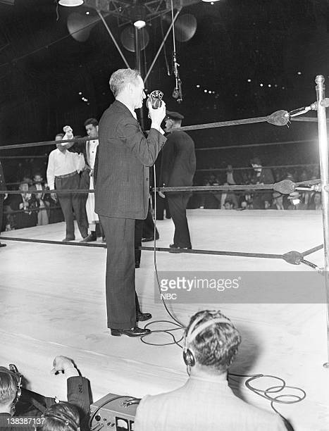 CHAMPIONSHIP '1938 Joe Louis v Max Schmeling' Pictured Boxer Joe Louis NBC Sports' Clem McCarthy during the LouisSchmeling fight on June 22 1938 at...