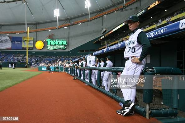 Joe Maddon of the Tampa Bay Devil Rays attends the season opener against the Baltimore Orioles on April 10 2006 at Tropicana Field in St Petersburg...