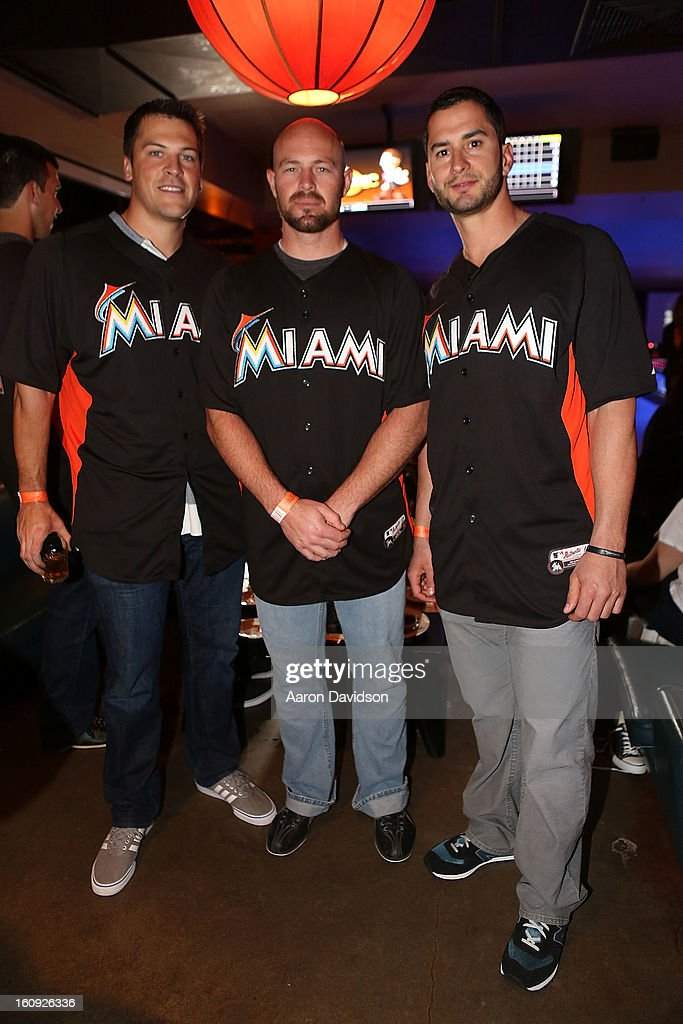 Joe Mahoney, Mike Dunn, and <a gi-track='captionPersonalityLinkClicked' href=/galleries/search?phrase=Justin+Ruggiano&family=editorial&specificpeople=4536828 ng-click='$event.stopPropagation()'>Justin Ruggiano</a> attend The Miami Marlins Host 7th Annual BaseBowl at Lucky Strike Lanes on February 7, 2013 in Miami Beach, Florida.