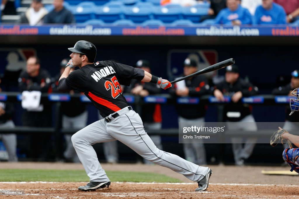 Joe Mahoney #25 of the Miami Marlins at bat against the New York Mets at Tradition Field on March 2, 2013 in Port St. Lucie, Florida.