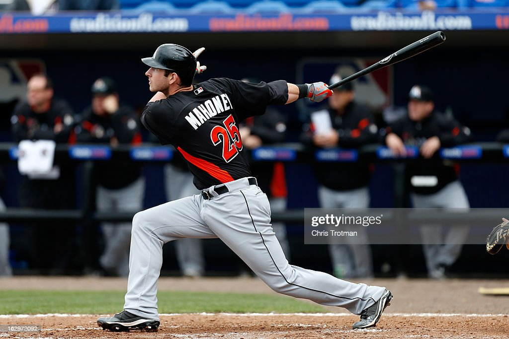 Joe Mahoney #25 of the Miami Marlins hits a home run in the 4th inning against the New York Mets at Tradition Field on March 2, 2013 in Port St. Lucie, Florida.