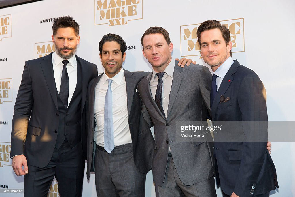 Joe Manganiello Adam Rodriguez Channing Tatum and Matt Bomer attend the Amsterdam premiere of 'Magic Mike XXL' on July 1 2015 in Amsterdam Netherlands