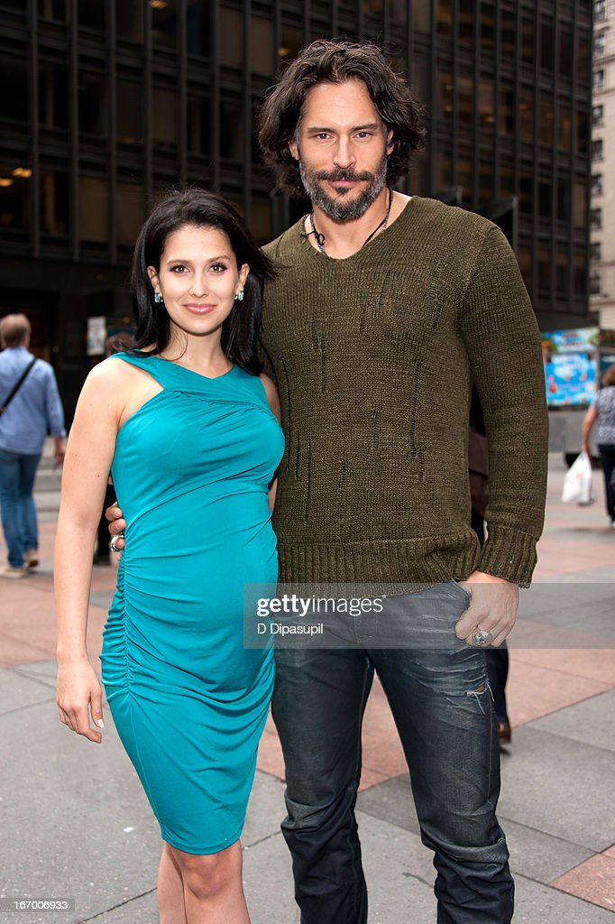 <a gi-track='captionPersonalityLinkClicked' href=/galleries/search?phrase=Joe+Manganiello&family=editorial&specificpeople=2516889 ng-click='$event.stopPropagation()'>Joe Manganiello</a> (R) and Hilaria Baldwin visit 'Extra' in Times Square on April 19, 2013 in New York City.