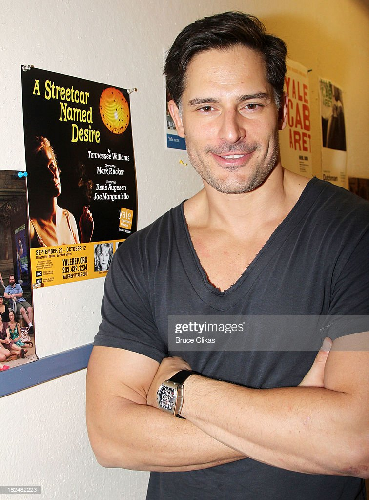 <a gi-track='captionPersonalityLinkClicked' href=/galleries/search?phrase=Joe+Manganiello&family=editorial&specificpeople=2516889 ng-click='$event.stopPropagation()'>Joe Manganiello</a> poses backstage at 'Steetcar Named Desire' at Yale Repertory Theater on September 29, 2013 in New Haven Connecticut.