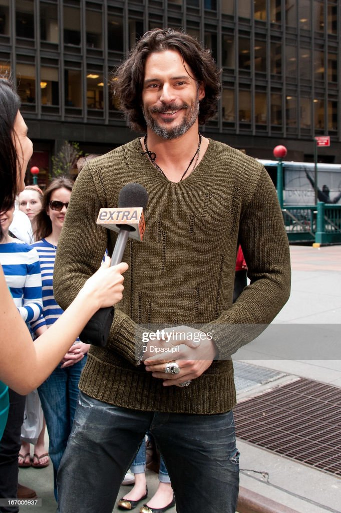 <a gi-track='captionPersonalityLinkClicked' href=/galleries/search?phrase=Joe+Manganiello&family=editorial&specificpeople=2516889 ng-click='$event.stopPropagation()'>Joe Manganiello</a> visits 'Extra' in Times Square on April 19, 2013 in New York City.