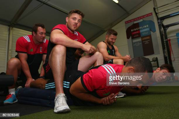 Joe Marchant and Harry Sloane of Harlequins during a Harlequins preseason gym session at Surrey Sports Park on June 27 2017 in Guildford England