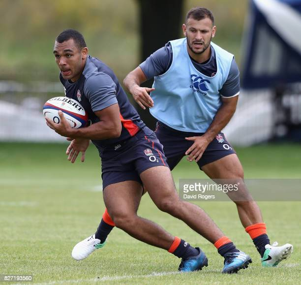 Joe Marchant moves away from Danny Care during the England training session at the Lensbury Club on August 7 2017 in Teddington England