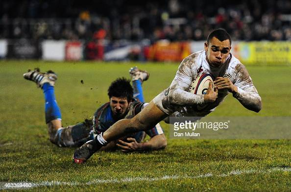 Joe Marchant of England dives over for a try during the U20 Six Nations match between England U20 and Italy U20 at Brickfields on February 13 2015 in...