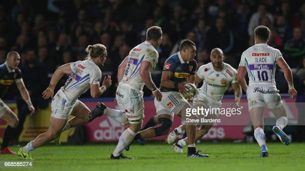 Joe Marchant of Harlequins cuts through the Exeter Chiefs defence during the Aviva Premiership match between Harlequins and Exeter Chiefs at...