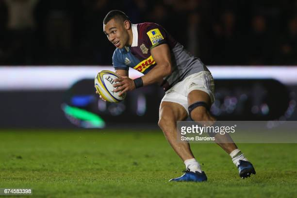 Joe Marchant of Harlequins goes over to score a try during the Aviva Premiership match between Harlequins and Wasps at Twickenham Stoop on April 28...