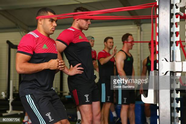 Joe Marchant of Harlequins in action during a Harlequins preseason gym session at Surrey Sports Park on June 27 2017 in Guildford England
