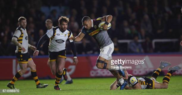 Joe Marchant of Harlequins makes a break during the Aviva Premiership match between Harlequins and Wasps at Twickenham Stoop on April 28 2017 in...