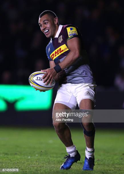 Joe Marchant of Harlequins scores his sides second try during the Aviva Premiership match between Harlequins and Wasps at Twickenham Stoop on April...