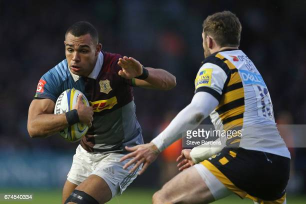 Joe Marchant of Harlequins takes on Elliot Daly of Wasps during the Aviva Premiership match between Harlequins and Wasps at Twickenham Stoop on April...