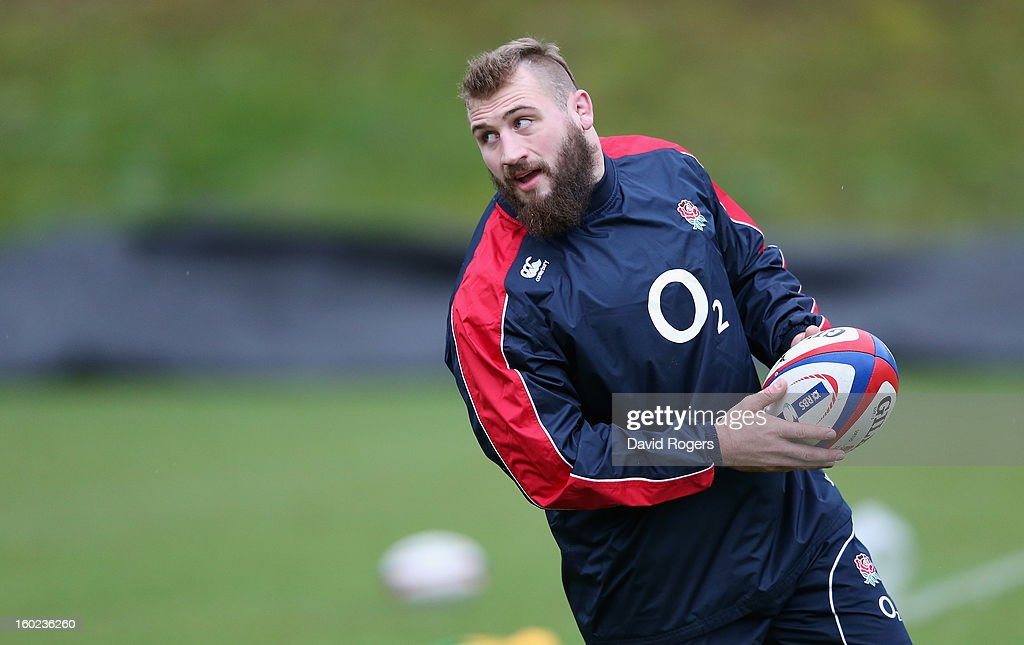 Joe Marler looks on during the England training session held at Pennyhill Park on January 28, 2013 in Bagshot, England.