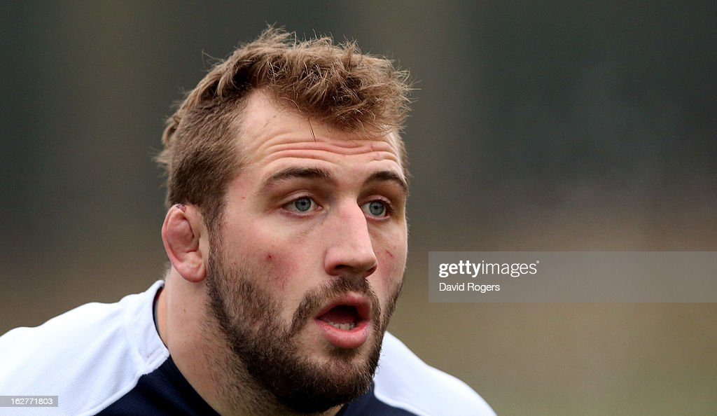 Joe Marler looks on during the England training session held at Pennyhill Park on February 26, 2013 in Bagshot, England.