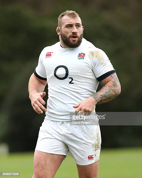 Joe Marler looks on during the England training session held at Pennyhill Park on February 4 2016 in Bagshot England
