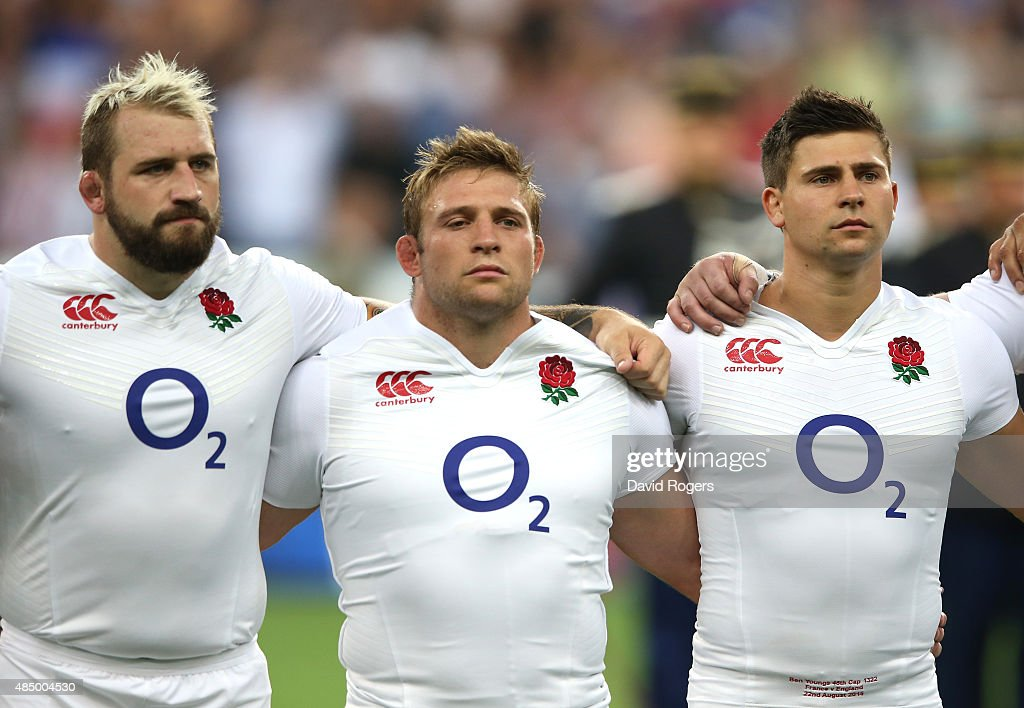 <a gi-track='captionPersonalityLinkClicked' href=/galleries/search?phrase=Joe+Marler&family=editorial&specificpeople=5082292 ng-click='$event.stopPropagation()'>Joe Marler</a> (L) of England lines up with team mates <a gi-track='captionPersonalityLinkClicked' href=/galleries/search?phrase=Tom+Youngs+-+Rugby+Player&family=editorial&specificpeople=10880014 ng-click='$event.stopPropagation()'>Tom Youngs</a> and <a gi-track='captionPersonalityLinkClicked' href=/galleries/search?phrase=Ben+Youngs&family=editorial&specificpeople=3970947 ng-click='$event.stopPropagation()'>Ben Youngs</a> (R) during the International match between France and England at Stade de France on August 22, 2015 in Paris, France.