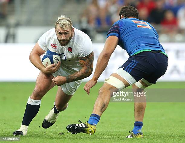 Joe Marler of England runs with the ball during the International match between France and England at Stade de France on August 22 2015 in Paris...