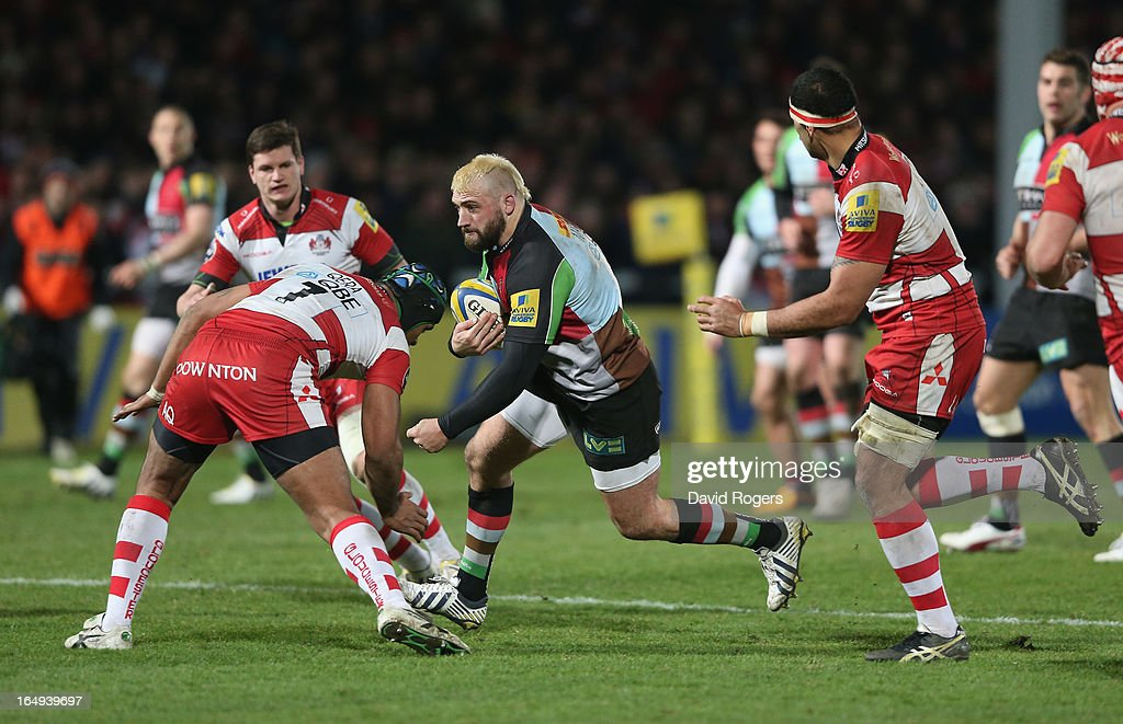 Joe Marler of Harlequins breaks with the ball during the Aviva Premiership match between Gloucester and Harlequins at Kingsholm Stadium on March 29, 2013 in Gloucester, England.
